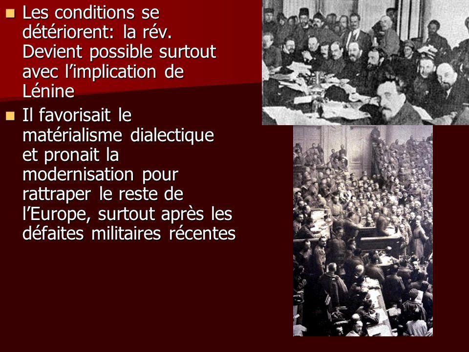 Les conditions se détériorent: la rév. Devient possible surtout avec limplication de Lénine Les conditions se détériorent: la rév. Devient possible su