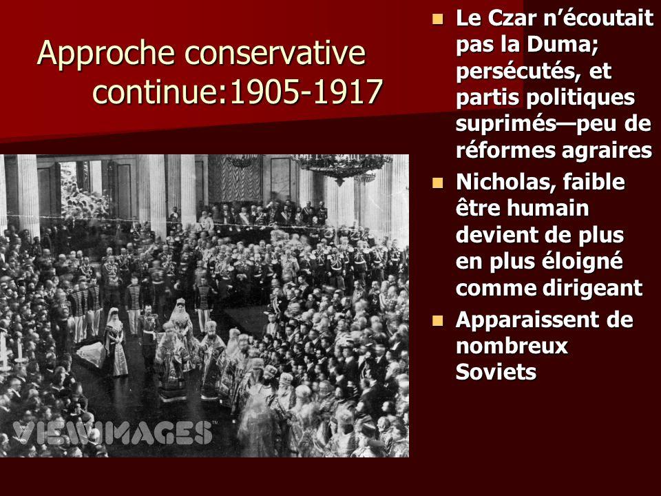 Approche conservative continue:1905-1917 Le Czar nécoutait pas la Duma; persécutés, et partis politiques supriméspeu de réformes agraires Le Czar néco