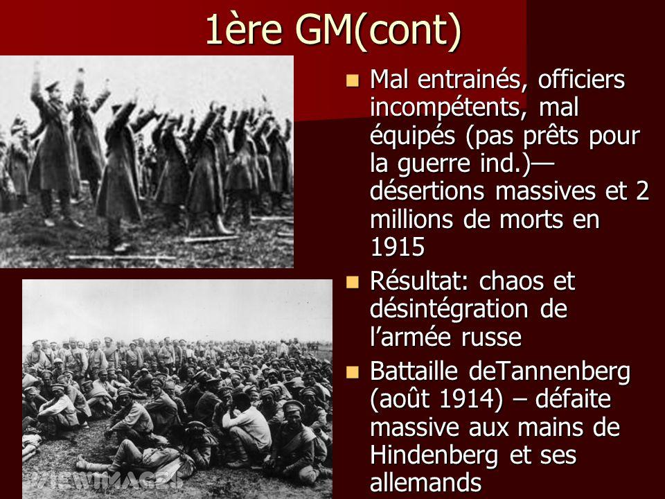 1ère GM(cont) Mal entrainés, officiers incompétents, mal équipés (pas prêts pour la guerre ind.) désertions massives et 2 millions de morts en 1915 Ma