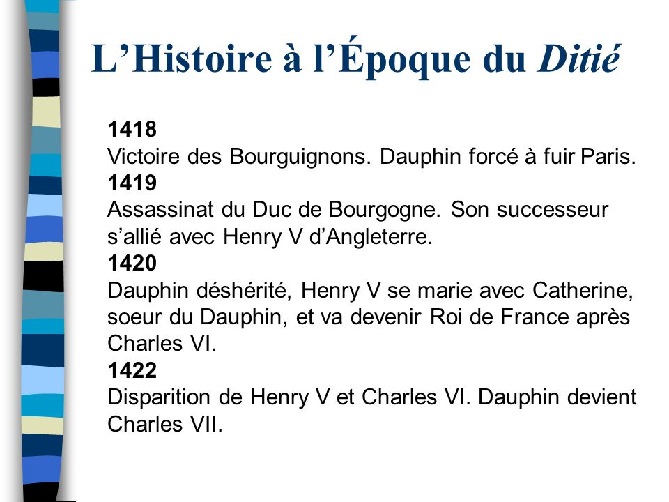 LHistoire à lÉpoque du Ditié 1418 Victoire des Bourguignons. Dauphin forcé à fuir Paris. 1419 Assassinat du Duc de Bourgogne. Son successeur sallié av