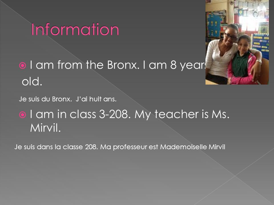 I am from the Bronx. I am 8 years old. I am in class 3-208.