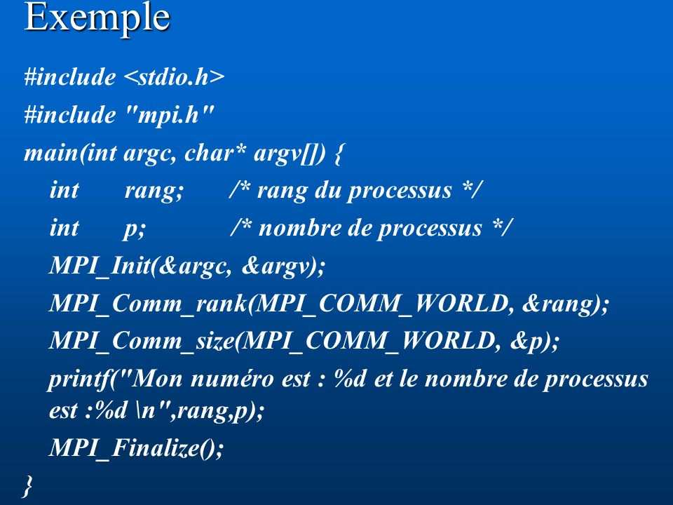Exemple #include #include