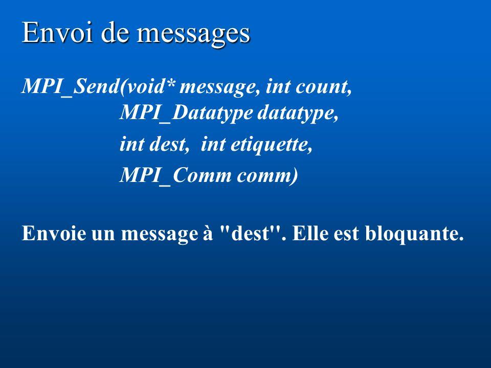 Envoi de messages MPI_Send(void* message, int count, MPI_Datatype datatype, int dest, int etiquette, MPI_Comm comm) Envoie un message à