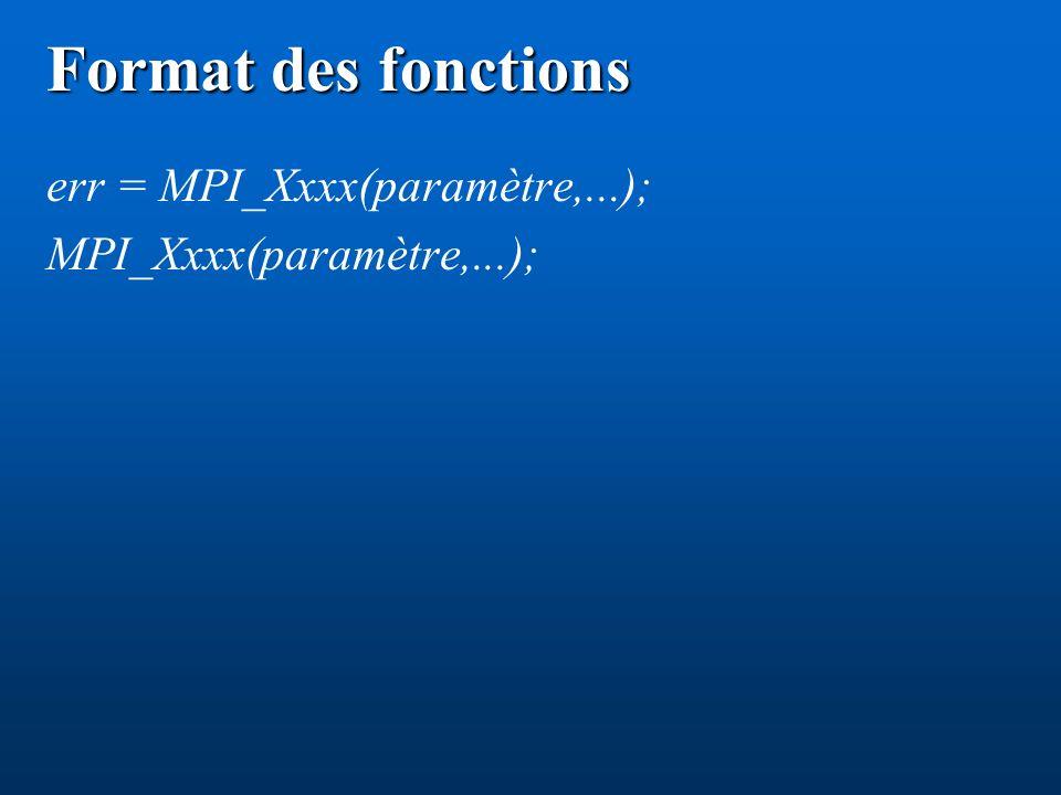 Format des fonctions err = MPI_Xxxx(paramètre,...); MPI_Xxxx(paramètre,...);