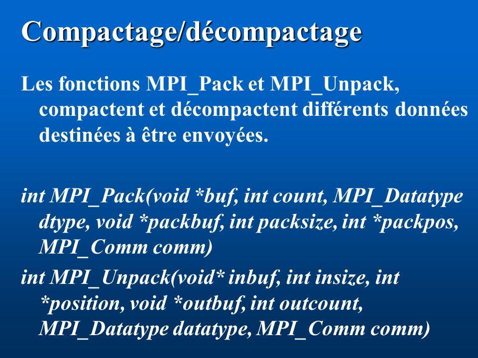 Compactage/décompactage Les fonctions MPI_Pack et MPI_Unpack, compactent et décompactent différents données destinées à être envoyées. int MPI_Pack(vo