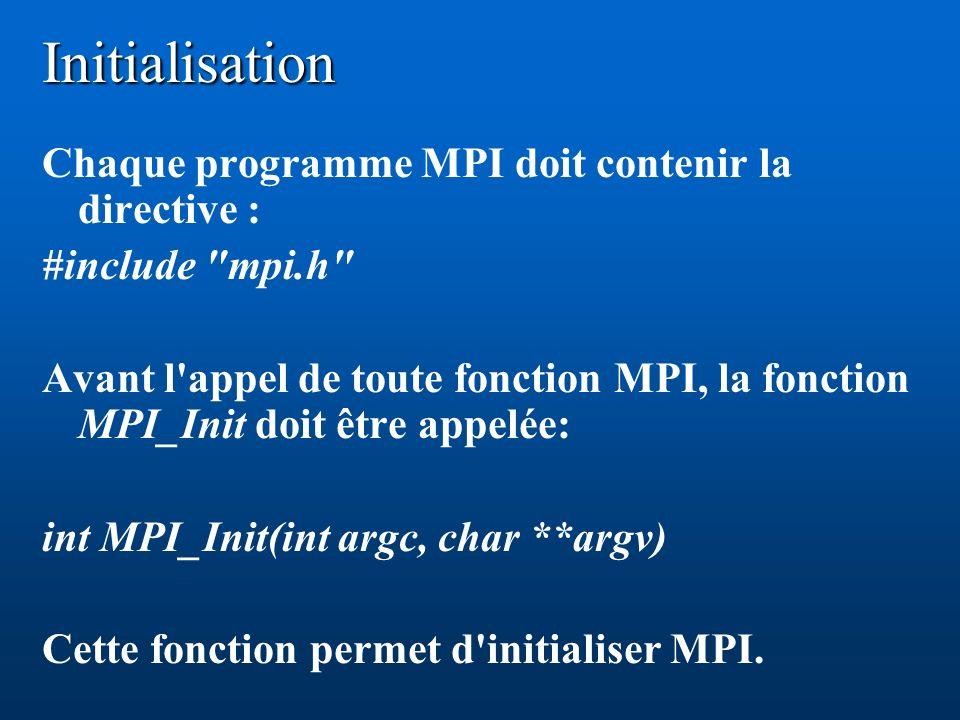 Initialisation Chaque programme MPI doit contenir la directive : #include mpi.h Avant l appel de toute fonction MPI, la fonction MPI_Init doit être appelée: int MPI_Init(int argc, char **argv) Cette fonction permet d initialiser MPI.