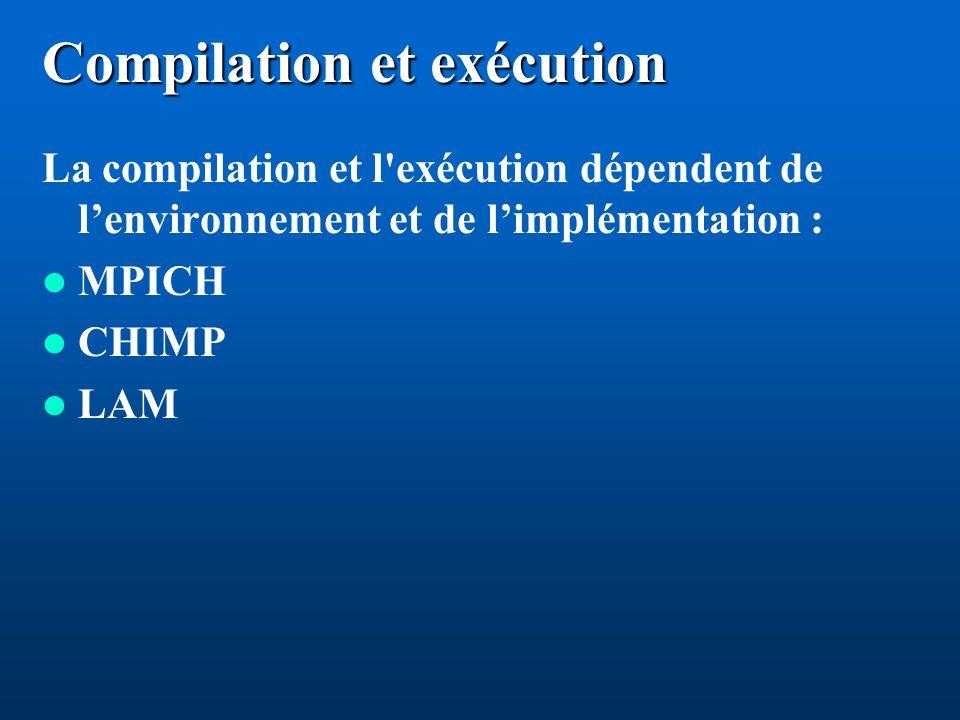 Compilation et exécution La compilation et l exécution dépendent de lenvironnement et de limplémentation : MPICH CHIMP LAM