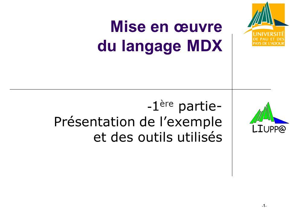 Mise en œuvre du langage MDX - 1 ère partie- Présentation de lexemple et des outils utilisés -1-