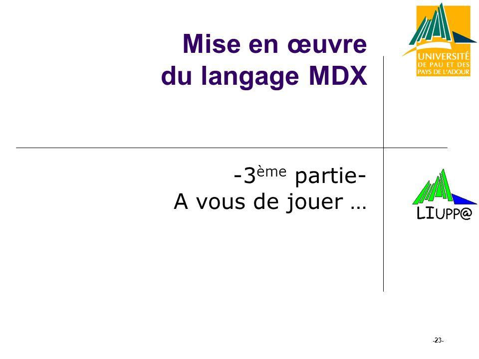 Mise en œuvre du langage MDX -3 ème partie- A vous de jouer … -23-