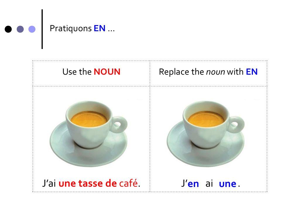 Pratiquons EN … Use the NOUNReplace the noun with EN Il y a fromages.Il y a.plusieursen plusieurs