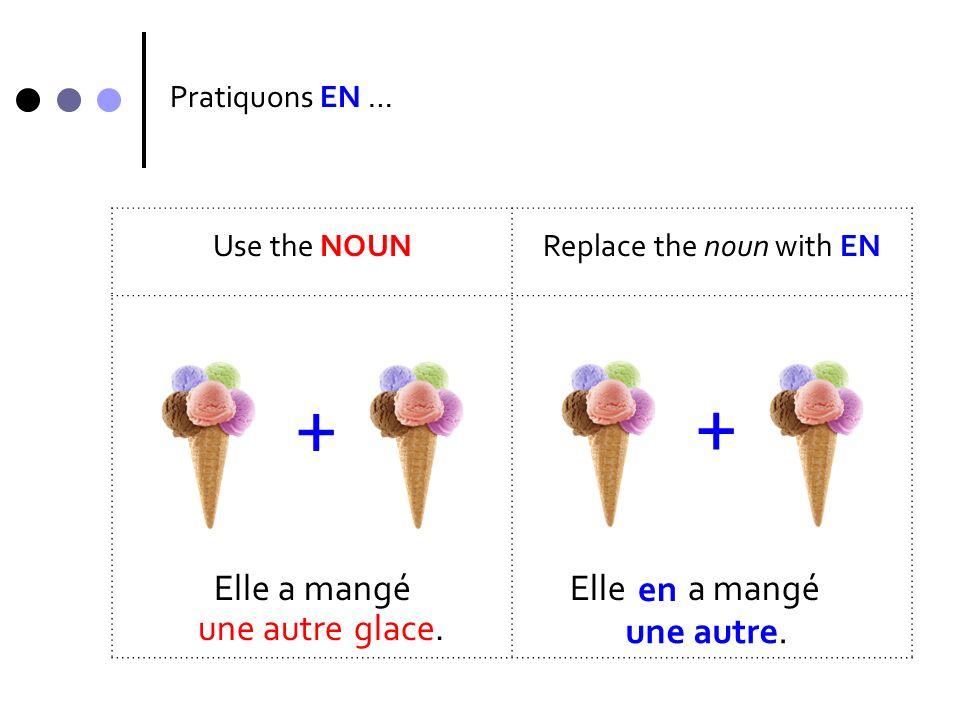 Pratiquons EN … Use the NOUNReplace the noun with EN Elle a mangé + + une autre en une autre.