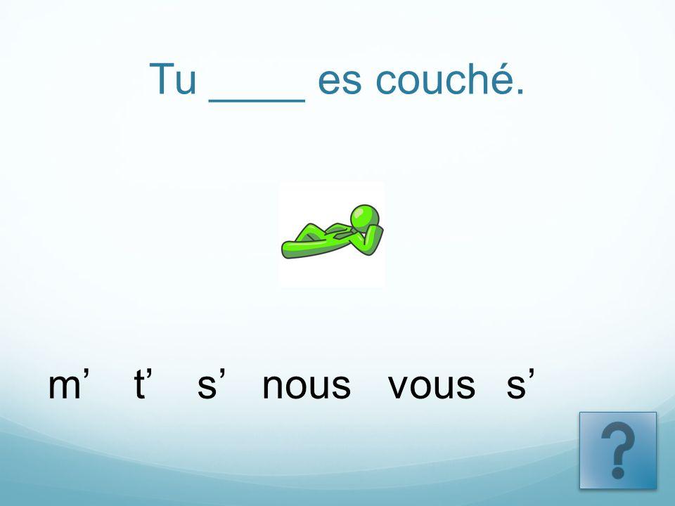 Tu ____ es couché. tsnousvoussm
