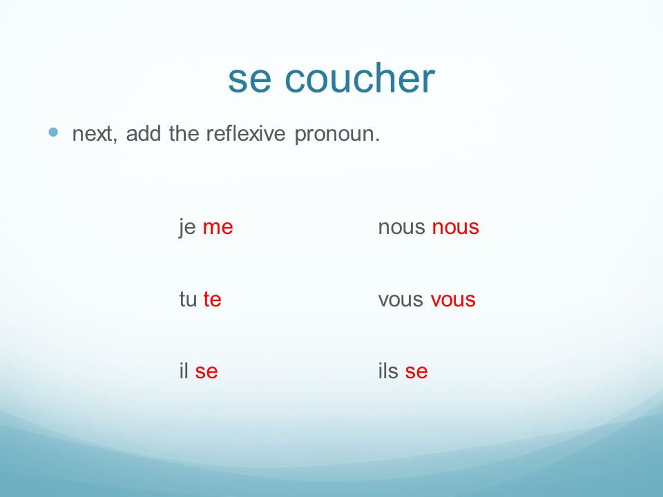 se coucher next, add the reflexive pronoun. je menous nous tu tevous vous il seils se