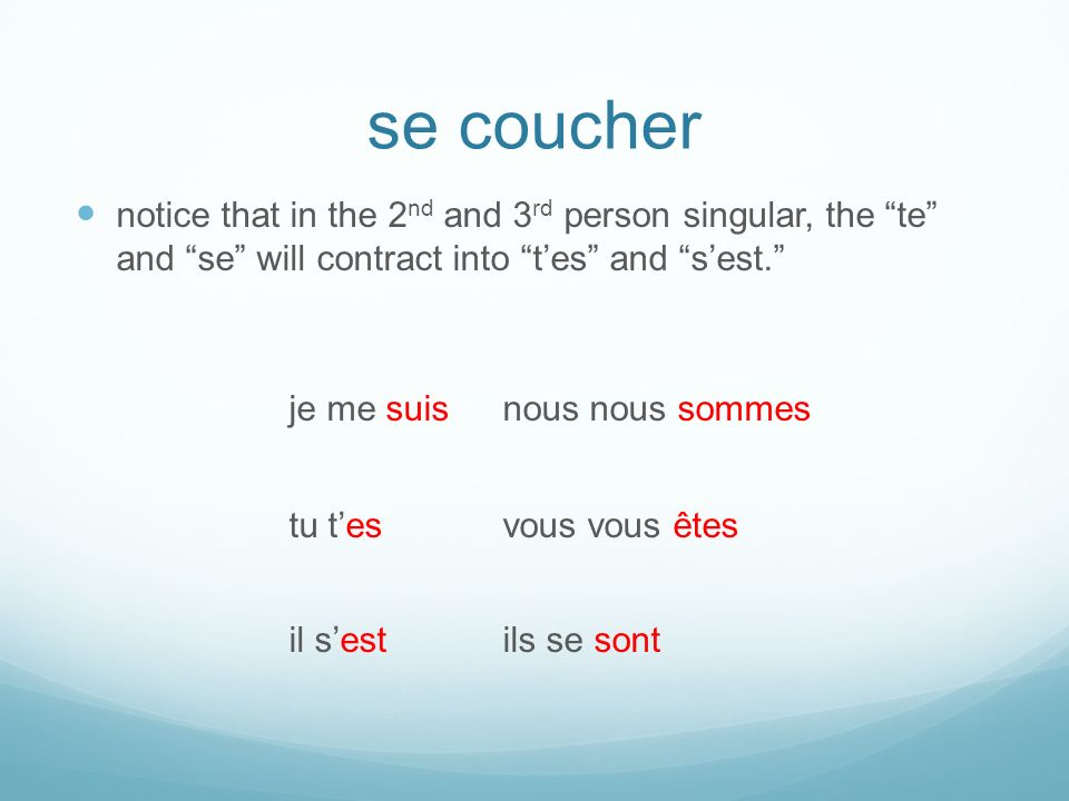se coucher notice that in the 2 nd and 3 rd person singular, the te and se will contract into tes and sest.