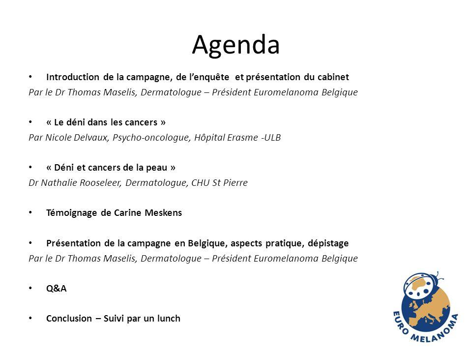 Agenda Introduction de la campagne, de lenquête et présentation du cabinet Par le Dr Thomas Maselis, Dermatologue – Président Euromelanoma Belgique «