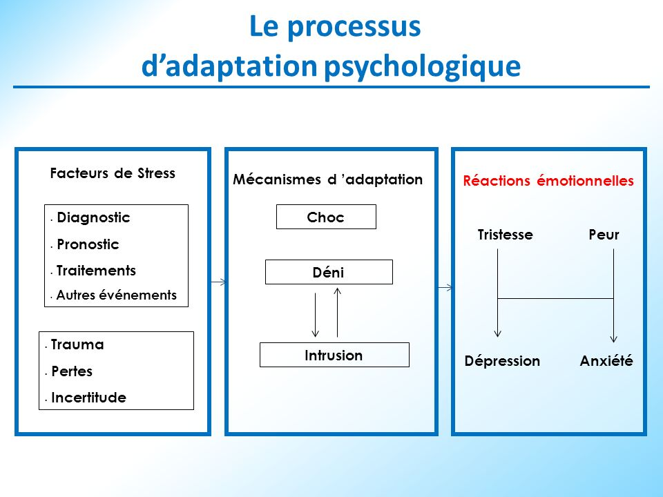 Le processus dadaptation psychologique Facteurs de Stress Mécanismes d adaptation Réactions émotionnelles Tristesse Peur Dépression Anxiété Diagnostic