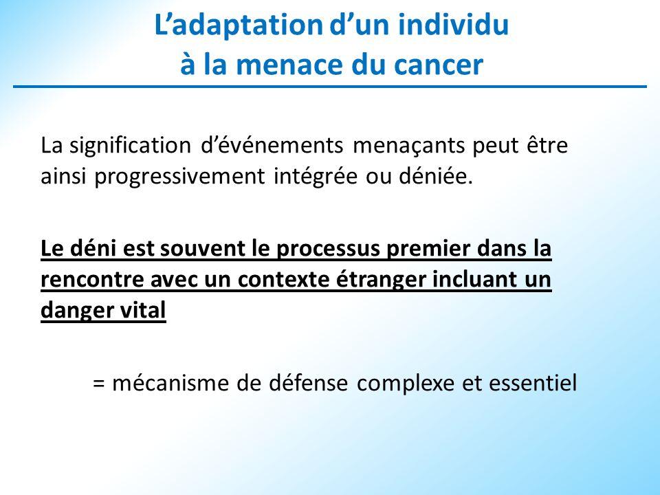 Ladaptation dun individu à la menace du cancer La signification dévénements menaçants peut être ainsi progressivement intégrée ou déniée. Le déni est