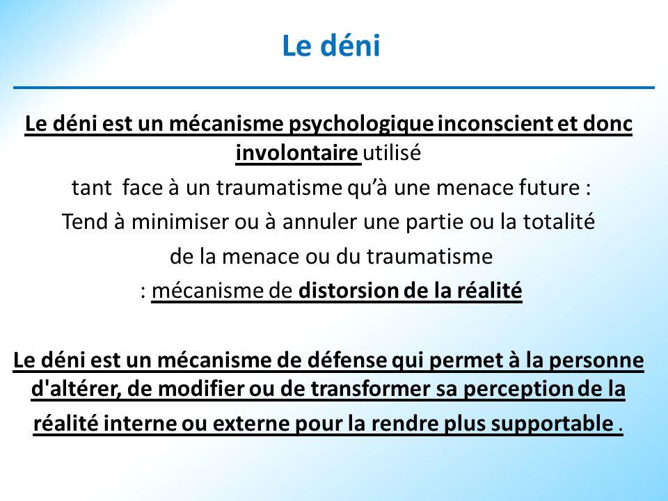 Le déni Le déni est un mécanisme psychologique inconscient et donc involontaire utilisé tant face à un traumatisme quà une menace future : Tend à mini
