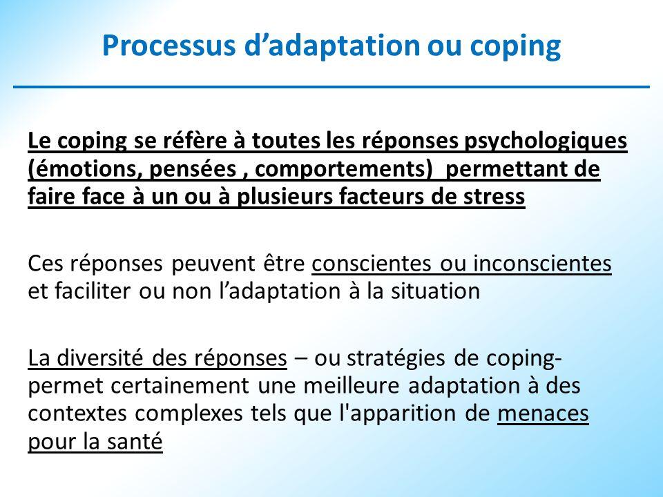 Processus dadaptation ou coping Le coping se réfère à toutes les réponses psychologiques (émotions, pensées, comportements) permettant de faire face à