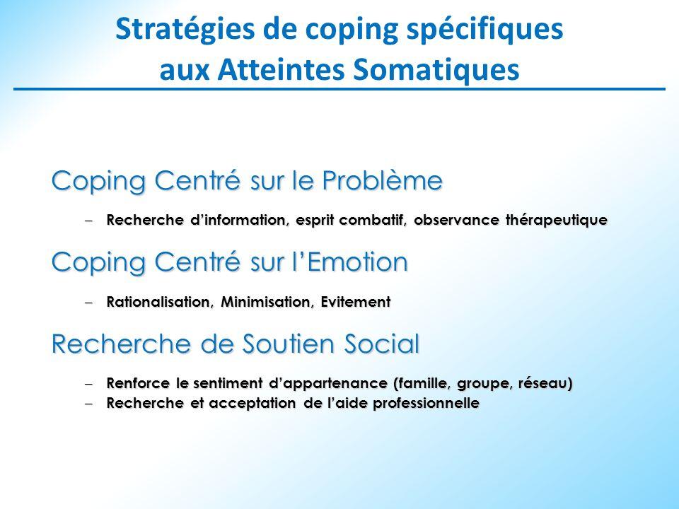 Stratégies de coping spécifiques aux Atteintes Somatiques Coping Centré sur le Problème – Recherche dinformation, esprit combatif, observance thérapeu