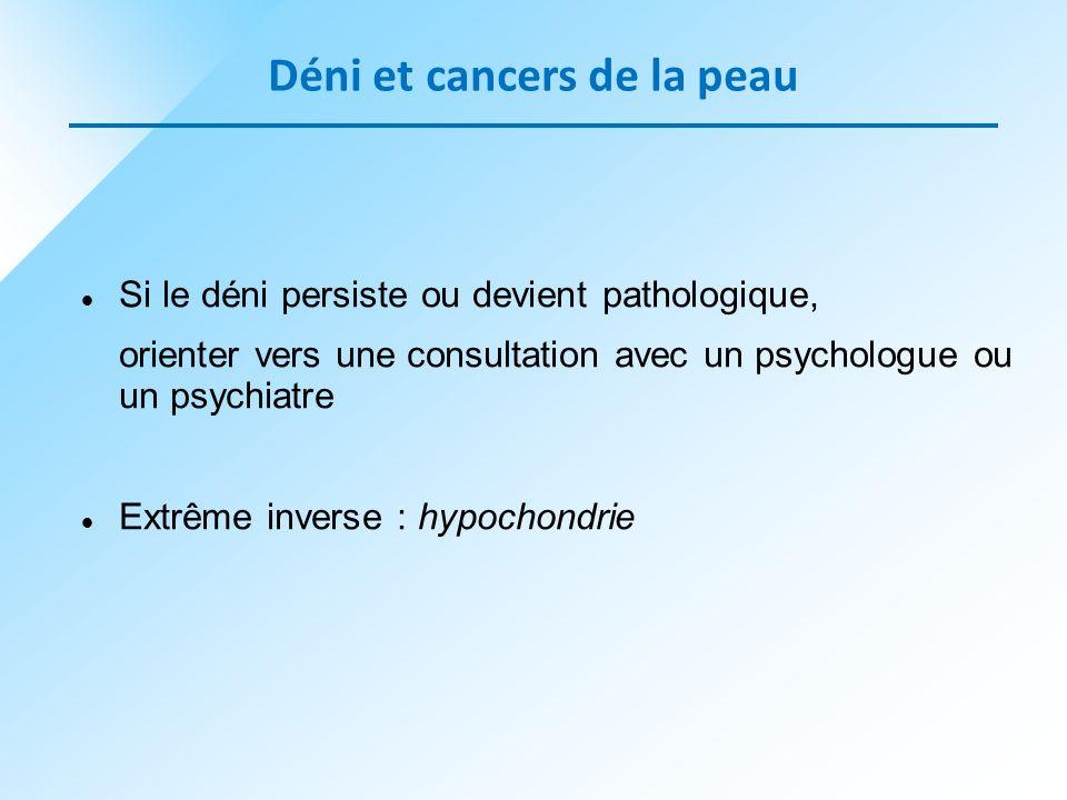 Si le déni persiste ou devient pathologique, orienter vers une consultation avec un psychologue ou un psychiatre Extrême inverse : hypochondrie Déni e
