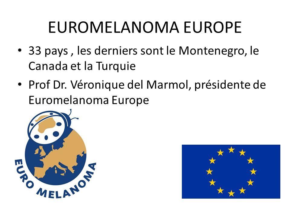 EUROMELANOMA EUROPE 33 pays, les derniers sont le Montenegro, le Canada et la Turquie Prof Dr. Véronique del Marmol, présidente de Euromelanoma Europe