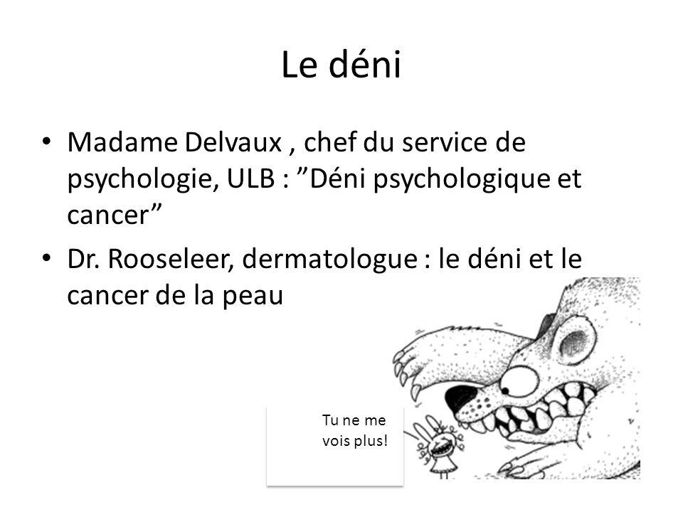Le déni Madame Delvaux, chef du service de psychologie, ULB : Déni psychologique et cancer Dr. Rooseleer, dermatologue : le déni et le cancer de la pe