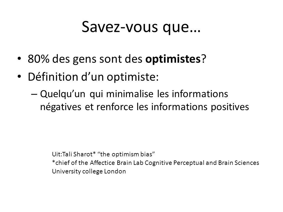 Savez-vous que… 80% des gens sont des optimistes? Définition dun optimiste: – Quelquun qui minimalise les informations négatives et renforce les infor