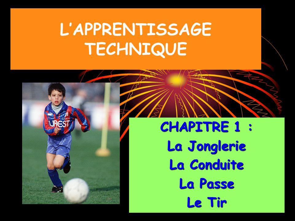 LAPPRENTISSAGE TECHNIQUE CHAPITRE 1 : La Jonglerie La Conduite La Passe Le Tir