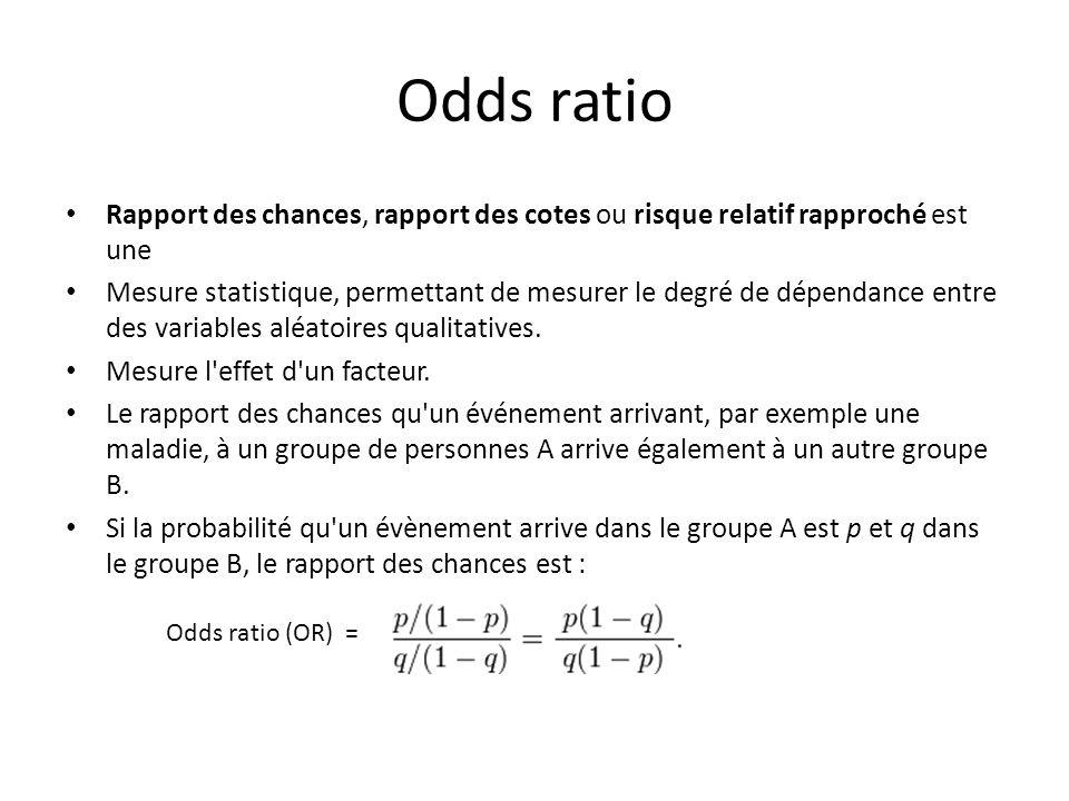 Odds ratio Rapport des chances, rapport des cotes ou risque relatif rapproché est une Mesure statistique, permettant de mesurer le degré de dépendance entre des variables aléatoires qualitatives.