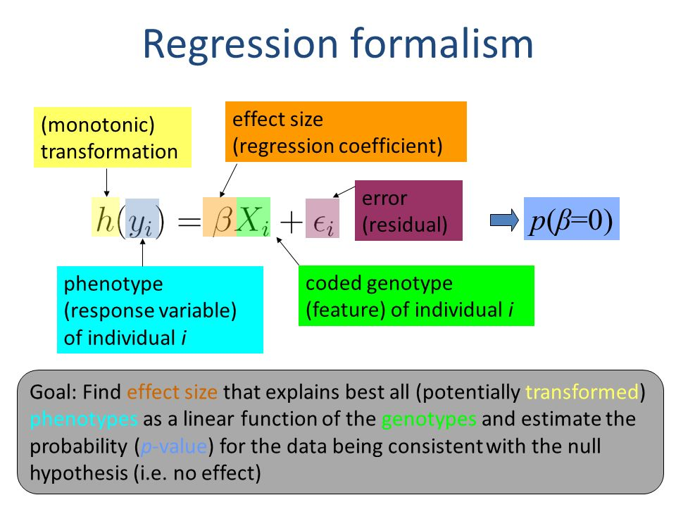 Regression formalism (monotonic) transformation phenotype (response variable) of individual i effect size (regression coefficient) coded genotype (fea