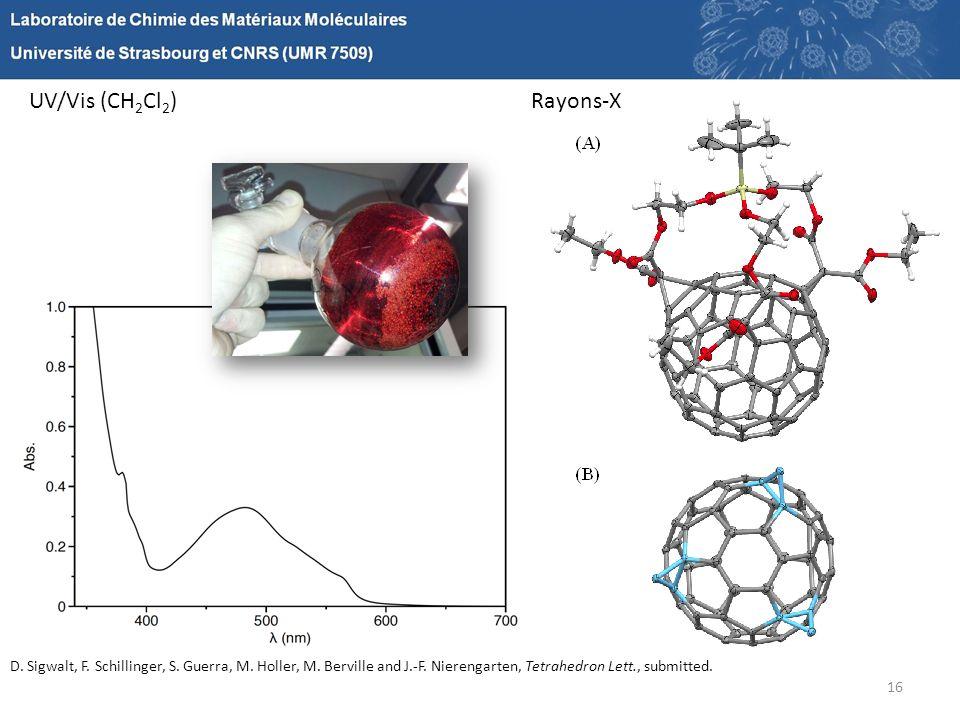 16 UV/Vis (CH 2 Cl 2 )Rayons-X D. Sigwalt, F. Schillinger, S. Guerra, M. Holler, M. Berville and J.-F. Nierengarten, Tetrahedron Lett., submitted.
