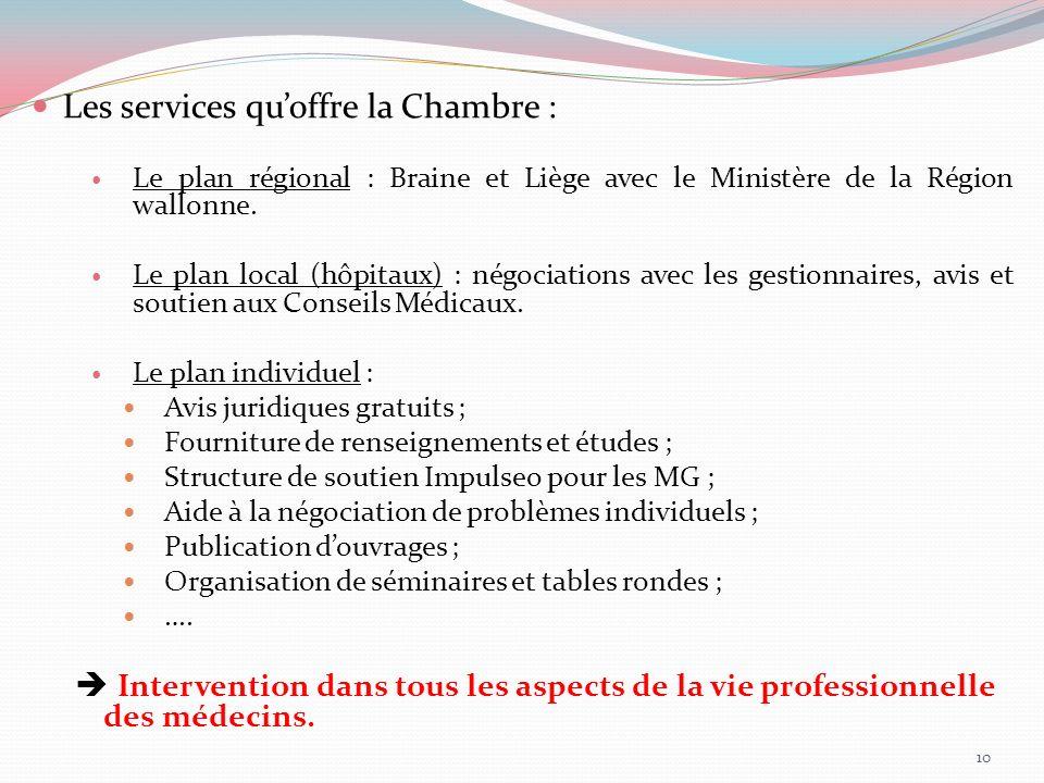 Les services quoffre la Chambre : Le plan régional : Braine et Liège avec le Ministère de la Région wallonne. Le plan local (hôpitaux) : négociations