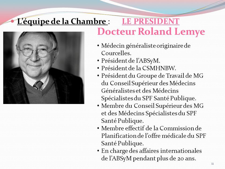Léquipe de la Chambre : LE PRESIDENT Docteur Roland Lemye Médecin généraliste originaire de Courcelles. Président de lABSyM. Président de la CSMHNBW.