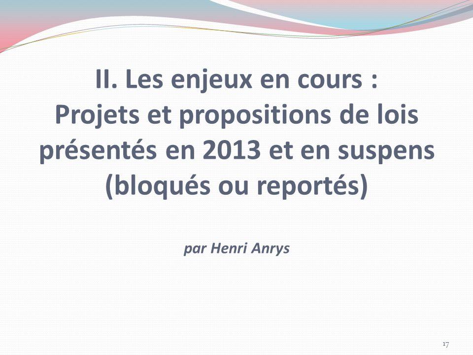 II. Les enjeux en cours : Projets et propositions de lois présentés en 2013 et en suspens (bloqués ou reportés) par Henri Anrys 17