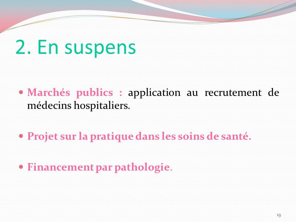 2. En suspens Marchés publics : application au recrutement de médecins hospitaliers. Projet sur la pratique dans les soins de santé. Financement par p