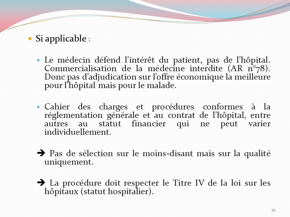 Si applicable : Le médecin défend lintérêt du patient, pas de lhôpital. Commercialisation de la médecine interdite (AR n°78). Donc pas dadjudication s