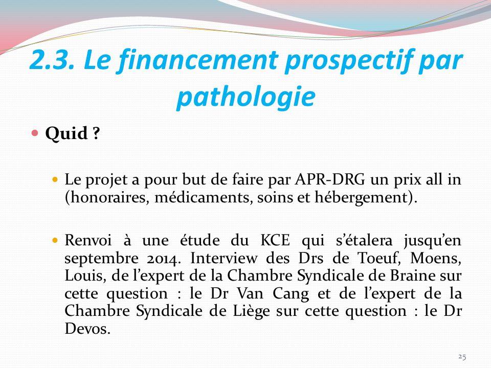 2.3. Le financement prospectif par pathologie Quid ? Le projet a pour but de faire par APR-DRG un prix all in (honoraires, médicaments, soins et héber
