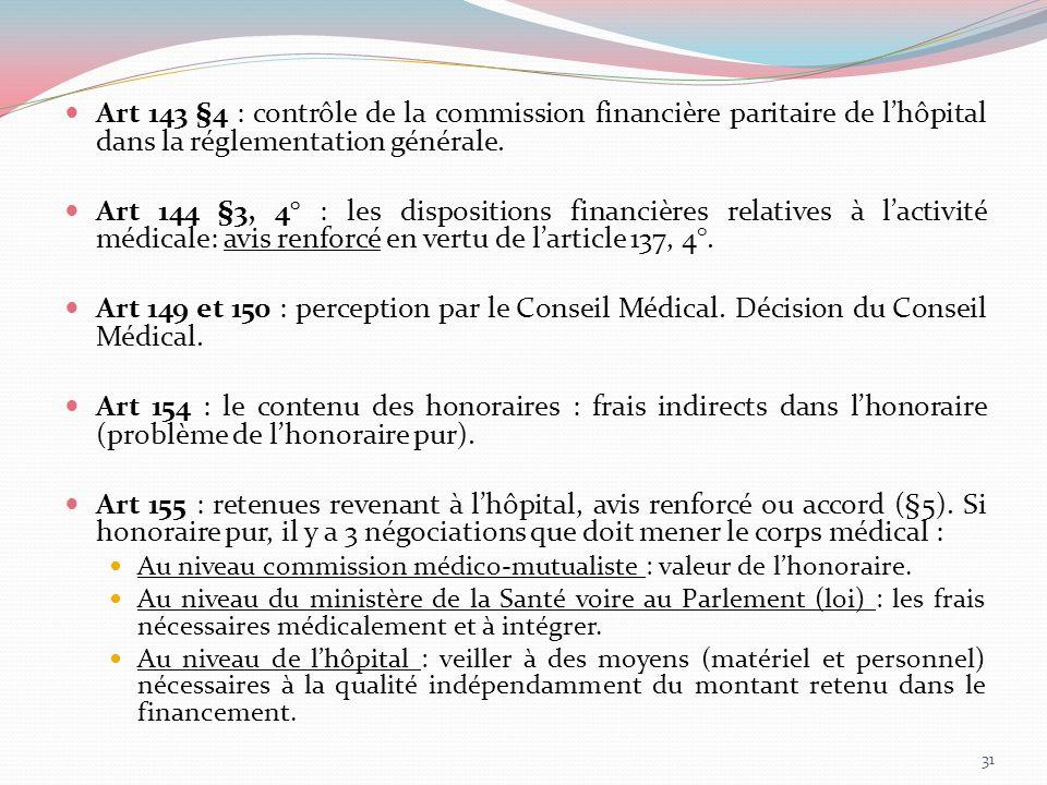 Art 143 §4 : contrôle de la commission financière paritaire de lhôpital dans la réglementation générale. Art 144 §3, 4° : les dispositions financières
