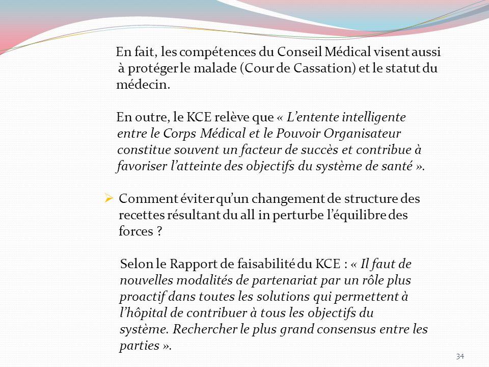 En fait, les compétences du Conseil Médical visent aussi à protéger le malade (Cour de Cassation) et le statut du médecin. En outre, le KCE relève que
