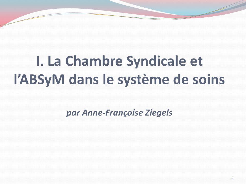 La Chambre est une des 5 composantes de lABSyM (Association Belge des Syndicats Médicaux) LABSyM est lorgane représentatif au niveau fédéral.