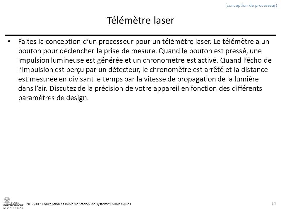 INF3500 : Conception et implémentation de systèmes numériques Télémètre laser Faites la conception dun processeur pour un télémètre laser.