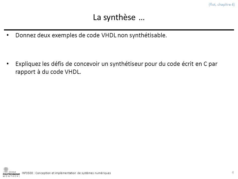 INF3500 : Conception et implémentation de systèmes numériques La synthèse … Donnez deux exemples de code VHDL non synthétisable.