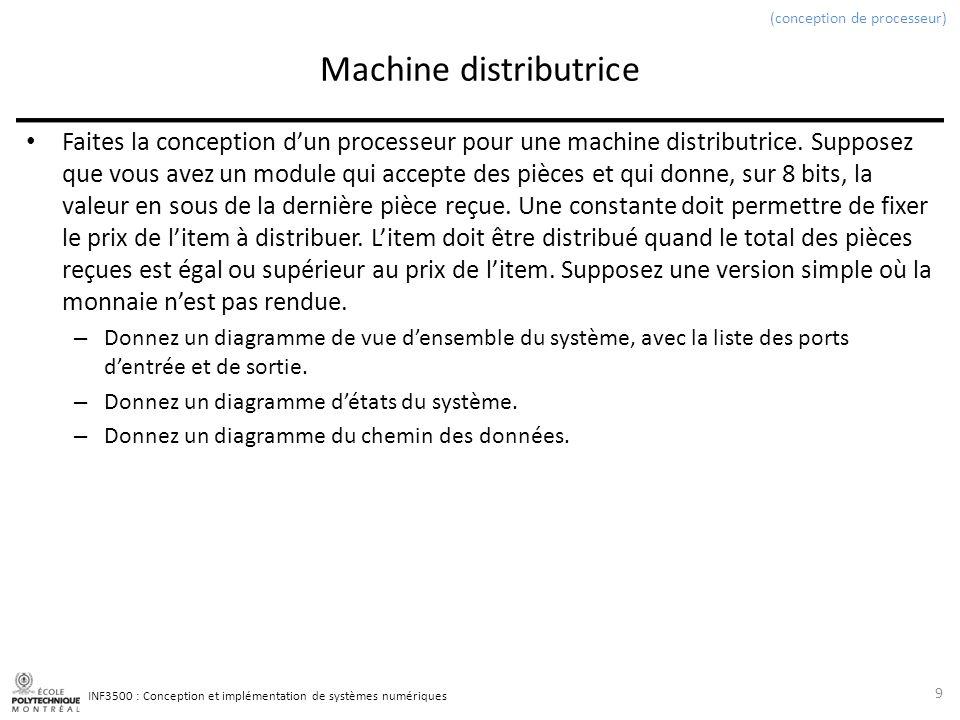 INF3500 : Conception et implémentation de systèmes numériques Machine distributrice Faites la conception dun processeur pour une machine distributrice.