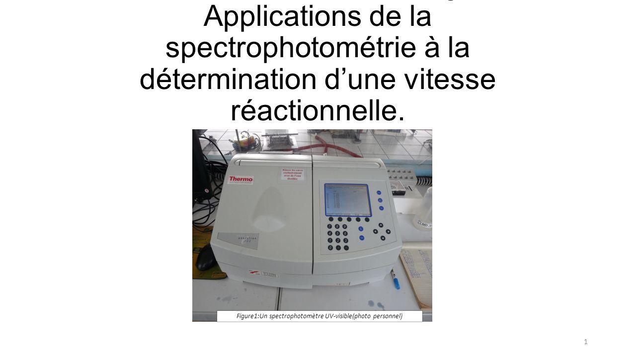 Méthodes détudes en biologie: Applications de la spectrophotométrie à la détermination dune vitesse réactionnelle.