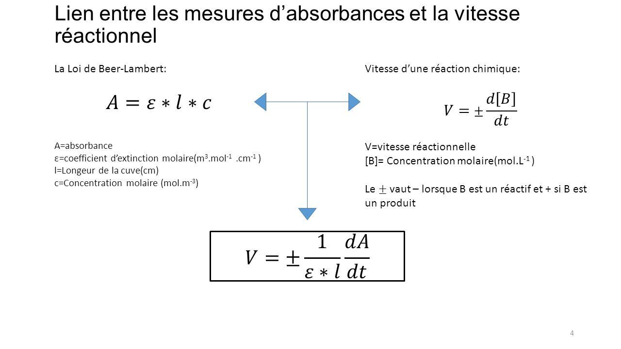 Lien entre les mesures dabsorbances et la vitesse réactionnel 4