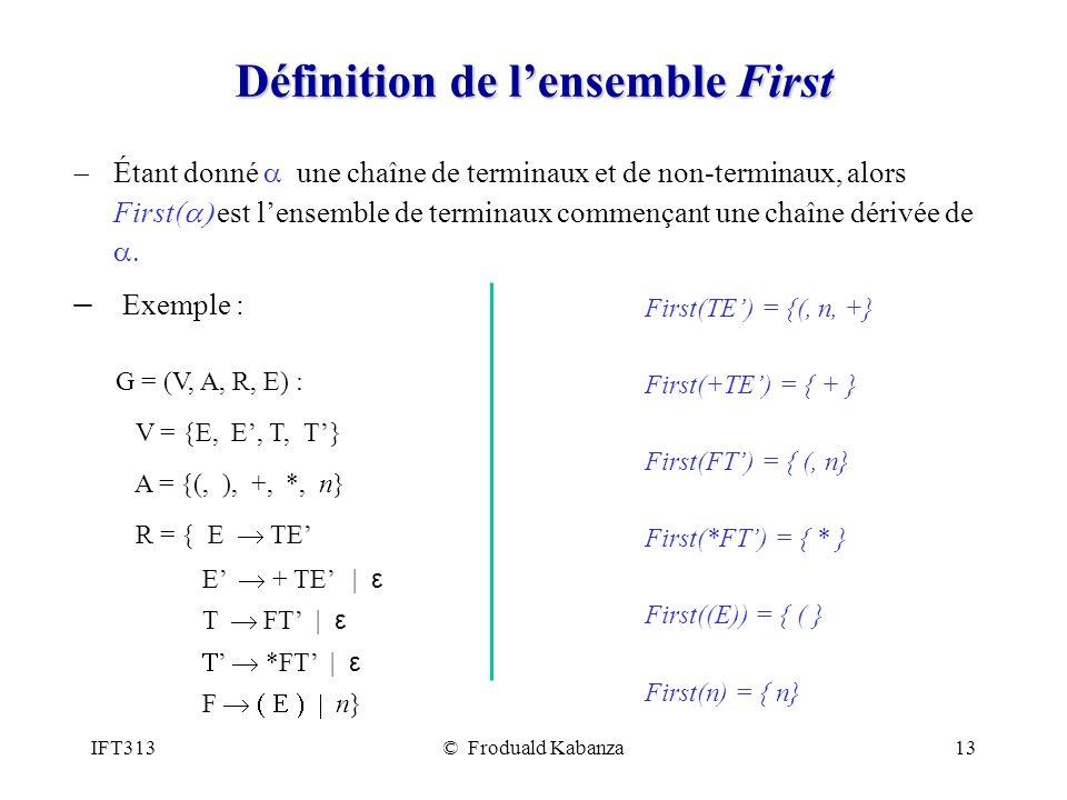 IFT313© Froduald Kabanza13 Définition de lensemble First Étant donné une chaîne de terminaux et de non-terminaux, alors First( est lensemble de termin