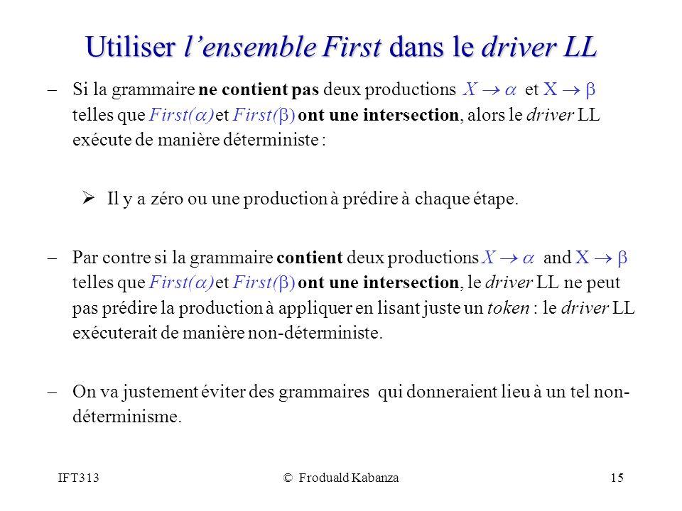 IFT313© Froduald Kabanza15 Utiliser lensemble First dans le driver LL Si la grammaire ne contient pas deux productions X et X telles que First( et Fir