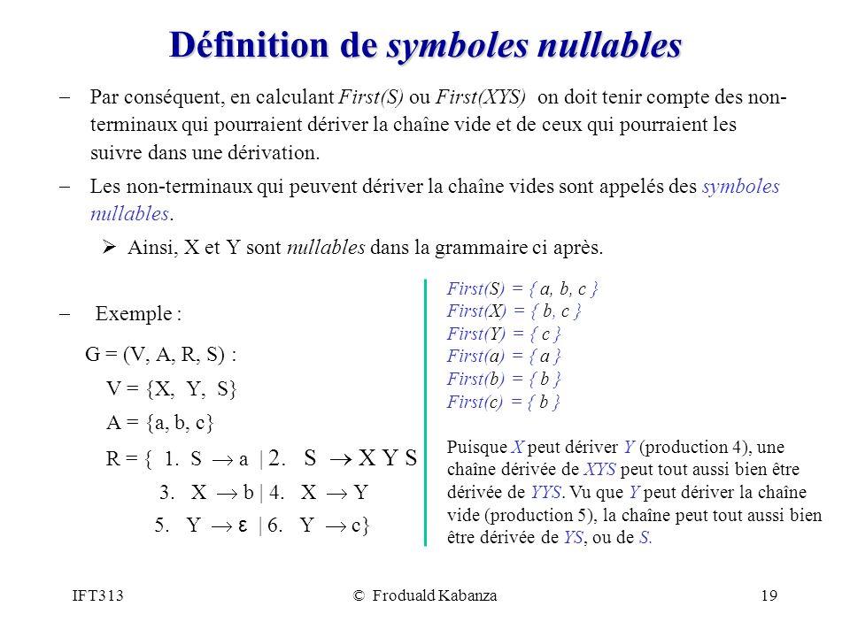 IFT313© Froduald Kabanza19 Définition de symboles nullables Par conséquent, en calculant First(S) ou First(XYS) on doit tenir compte des non- terminau
