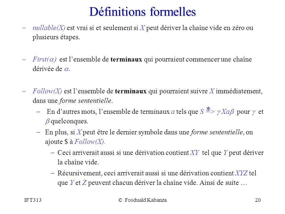 IFT313© Froduald Kabanza20 Définitions formelles nullable(X) est vrai si et seulement si X peut dériver la chaîne vide en zéro ou plusieurs étapes. Fi